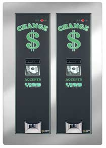 AMERICAN CHANGER REAR LOAD BILL CHANGER/ DUAL CABINET/ DUAL HOPPER/ DUAL VALIDATOR