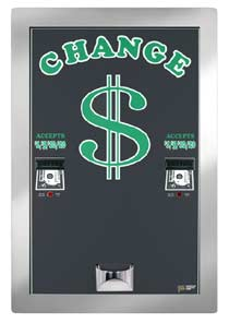 AMERICAN CHANGER REAR LOAD BILL CHANGER/ DUAL CHANGER/ DUAL HOPPER/ DUAL VALIDATORS HIGH CAPACITY